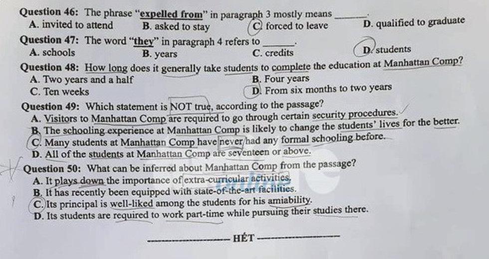 Đáp án môn tiếng Anh thi THPT quốc gia - Ảnh 7.