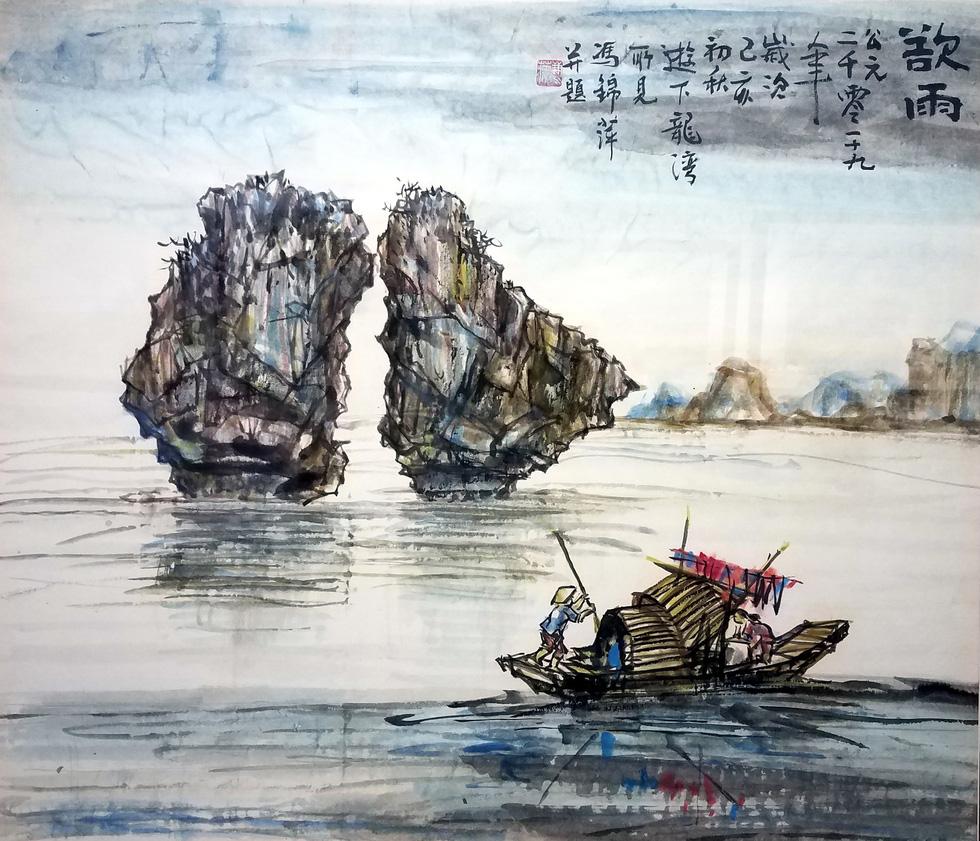Hẻm Sài Gòn, bến Bình Đông và biển đảo vào tranh thủy mặc - Ảnh 4.