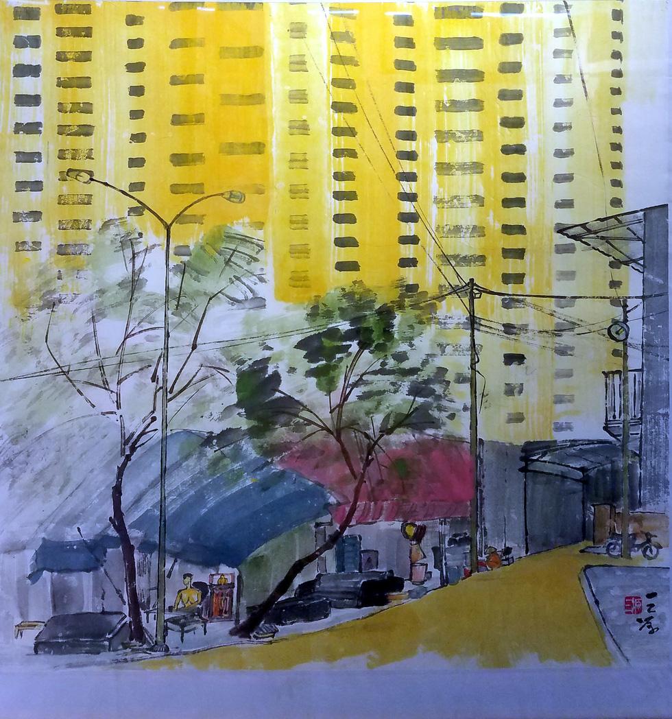 Hẻm Sài Gòn, bến Bình Đông và biển đảo vào tranh thủy mặc - Ảnh 6.