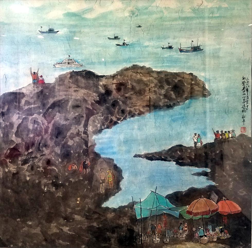 Hẻm Sài Gòn, bến Bình Đông và biển đảo vào tranh thủy mặc - Ảnh 5.