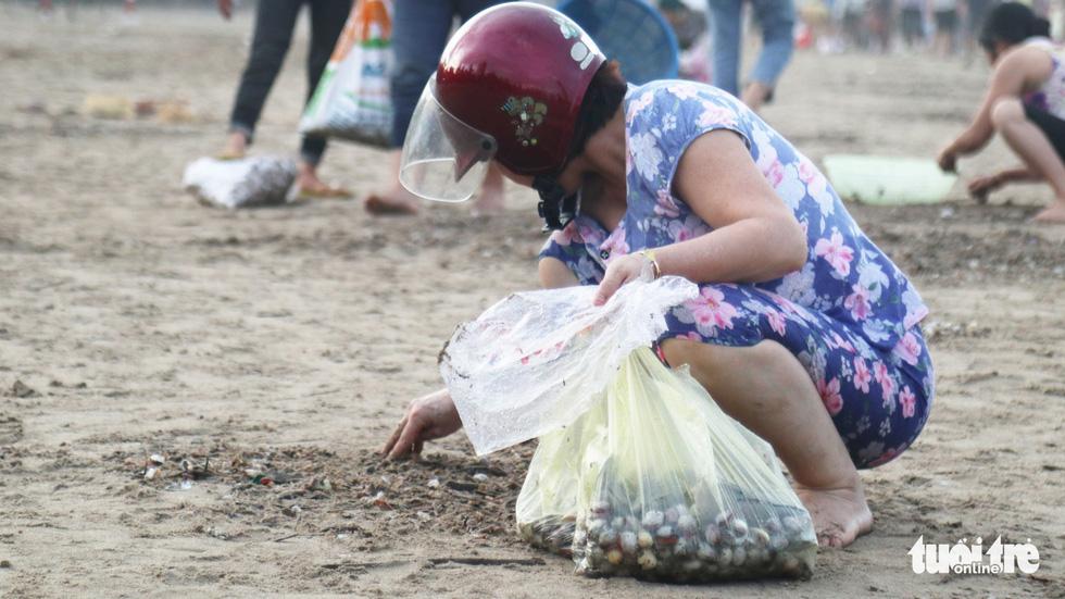 Cả trăm người dân, du khách tụ về bờ biển nhặt sò, ngao sau bão số 4 - Ảnh 6.