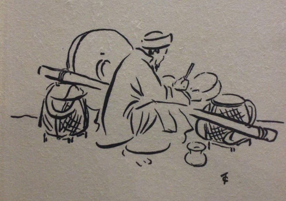 Bất ngờ với gánh hàng rong Hà Nội xưa trong tranh họa sĩ triệu đô Lê Phổ - Ảnh 15.