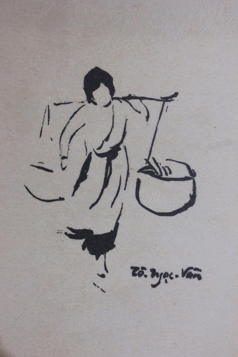 Bất ngờ với gánh hàng rong Hà Nội xưa trong tranh họa sĩ triệu đô Lê Phổ - Ảnh 2.