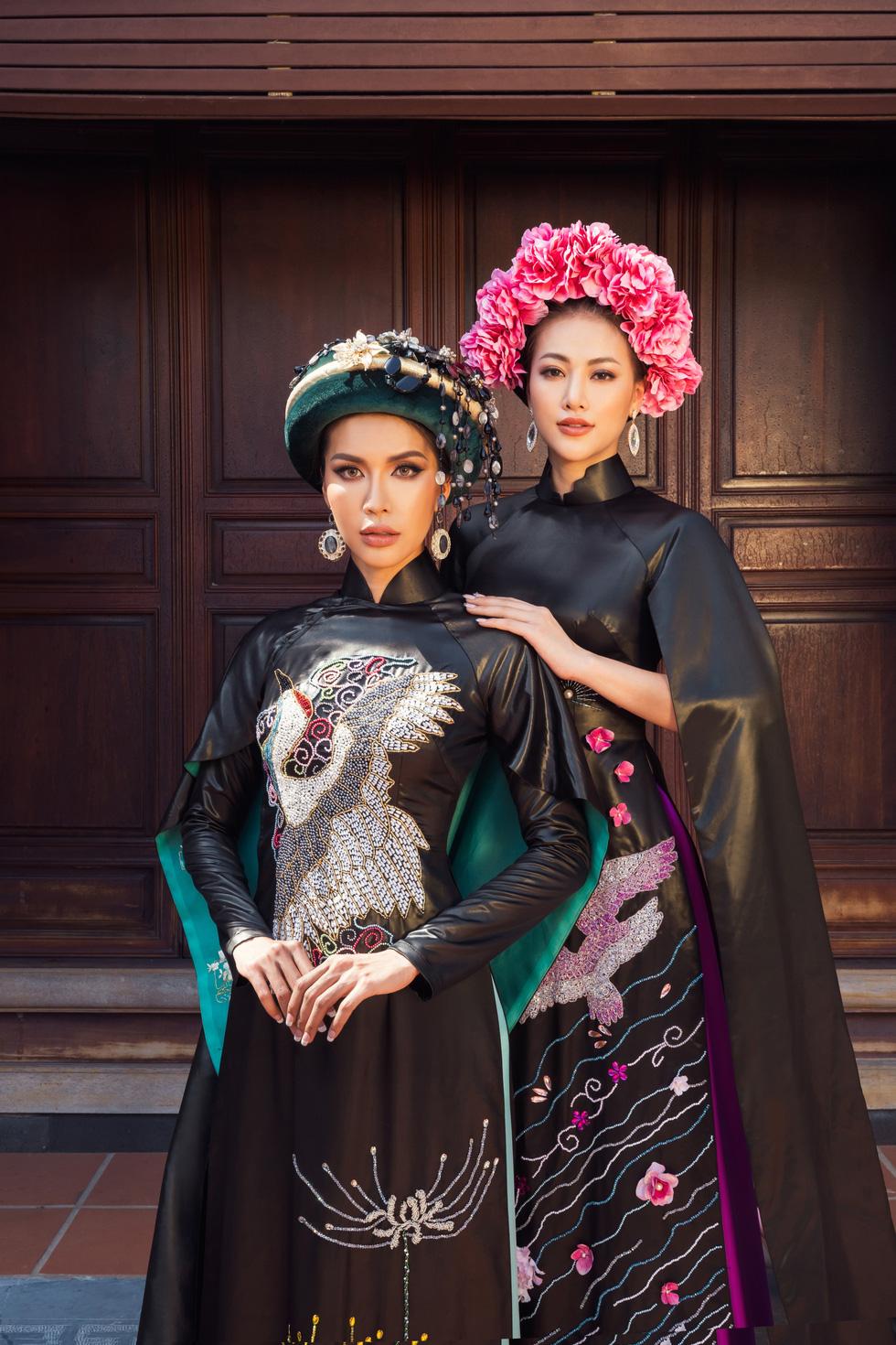 Hoa hậu Phương Khánh, Minh Tú khoe sắc trong bộ sưu tập áo dài Bay lả bay la - Ảnh 9.