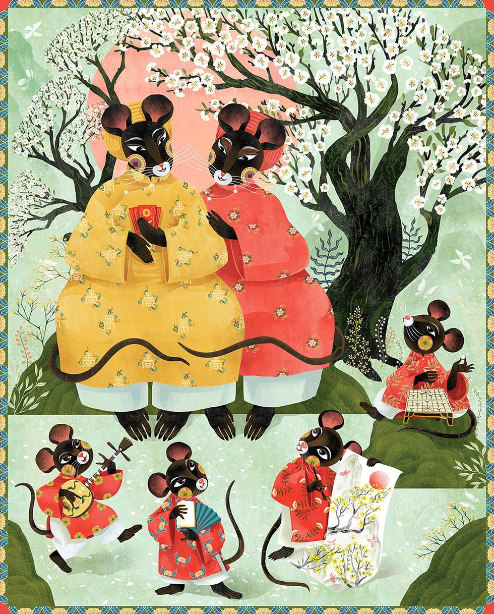 Ấn tượng tranh chuột đón xuân Canh Tý của họa sĩ ba miền - Ảnh 1.