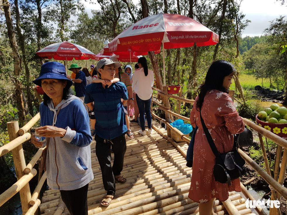 Khách đi cầu Tre dài nhất Việt Nam 10km, mỏi chân thì ăn buffet bánh tét, bánh bò - Ảnh 2.