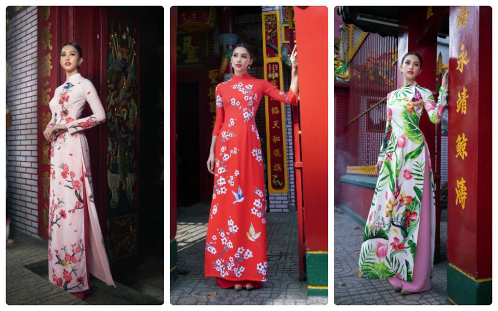 Ngắm Hoa hậu Tiểu Vy trong những tà áo dài sắc hồng, đỏ du xuân - Ảnh 1.