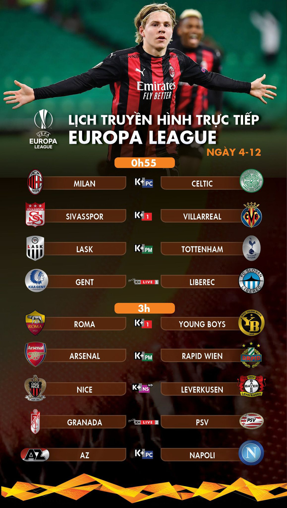 Lịch trực tiếp Europa League 4-12: Chờ Tottenham đi tiếp - Ảnh 1.