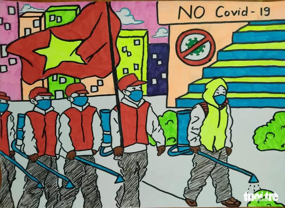 'Cùng áo xanh thắng nhanh COVID-19' qua bộ tranh dí dỏm - Ảnh 1.