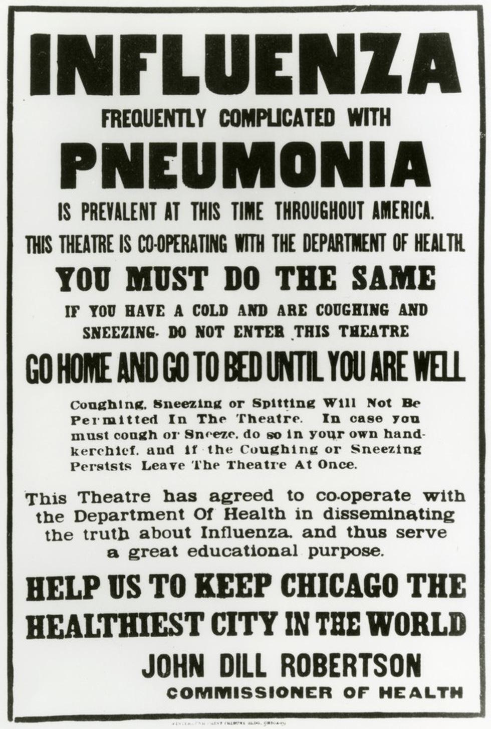 100 năm apphich vẫn thông điệp: Che miệng khi ho, ở nhà khi bệnh, tránh đám đông - Ảnh 1.