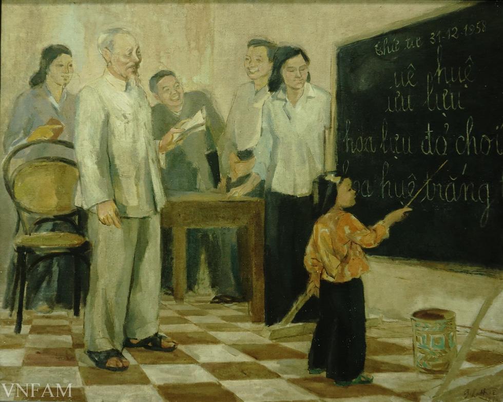 Ngắm tranh Bác Hồ của các danh họa Trần Văn Cẩn, Dương Bích Liên, Lê Bá Đảng - Ảnh 10.