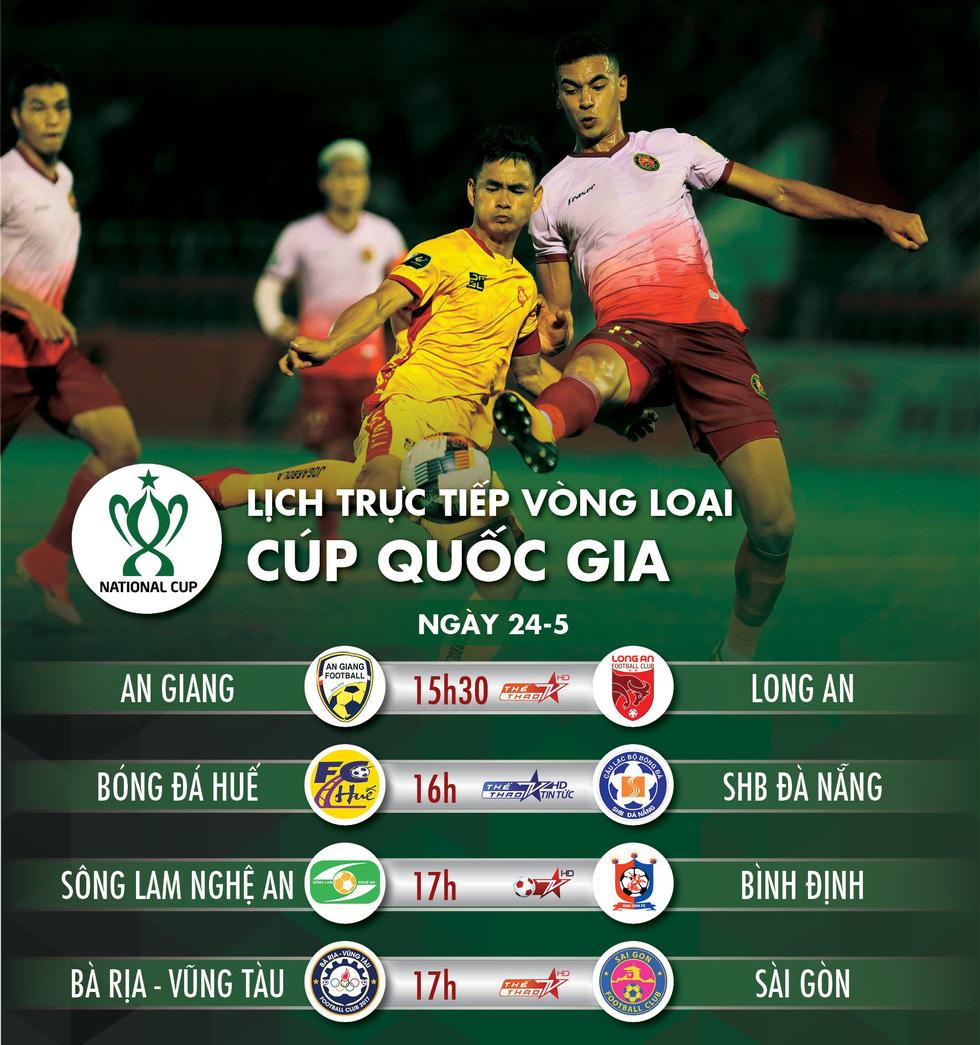 Lịch trực tiếp vòng loại Cúp quốc gia ngày 24-5 - Ảnh 1.
