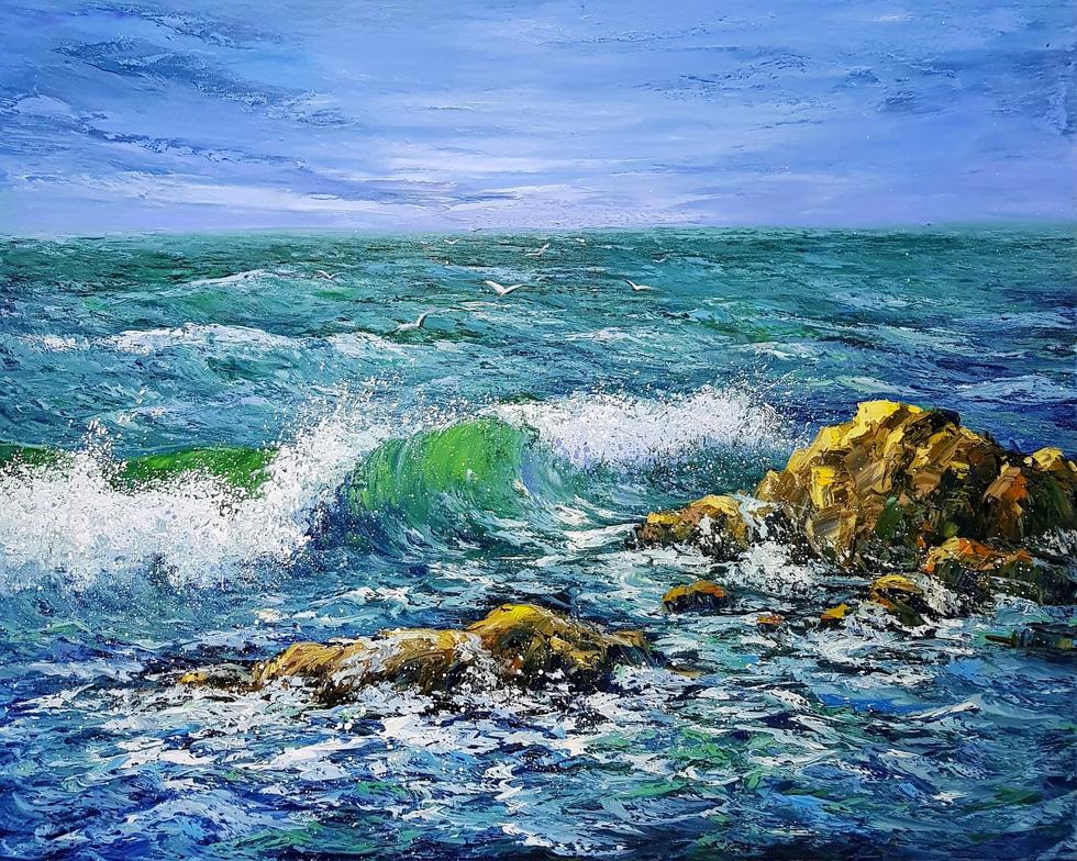 Trường Sa, nhà giàn, biển đảo... dạt dào cảm xúc trong các tác phẩm tranh, gốm - Ảnh 6.