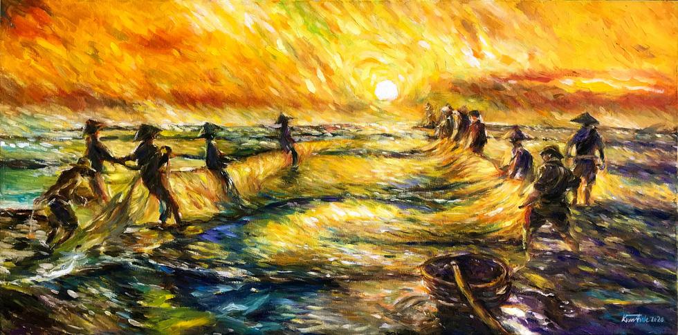Trường Sa, nhà giàn, biển đảo... dạt dào cảm xúc trong các tác phẩm tranh, gốm - Ảnh 3.