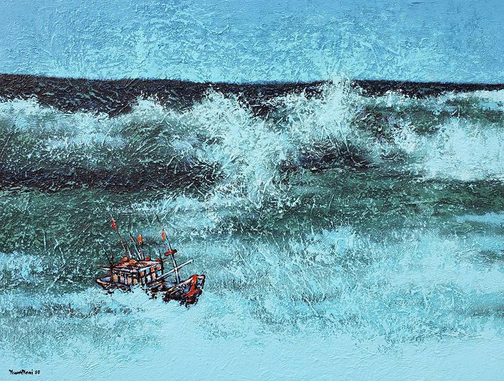 Trường Sa, nhà giàn, biển đảo... dạt dào cảm xúc trong các tác phẩm tranh, gốm - Ảnh 5.