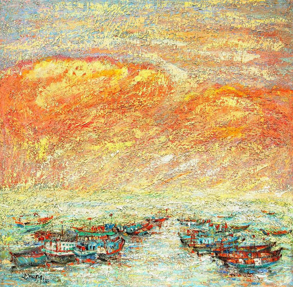 Trường Sa, nhà giàn, biển đảo... dạt dào cảm xúc trong các tác phẩm tranh, gốm - Ảnh 1.