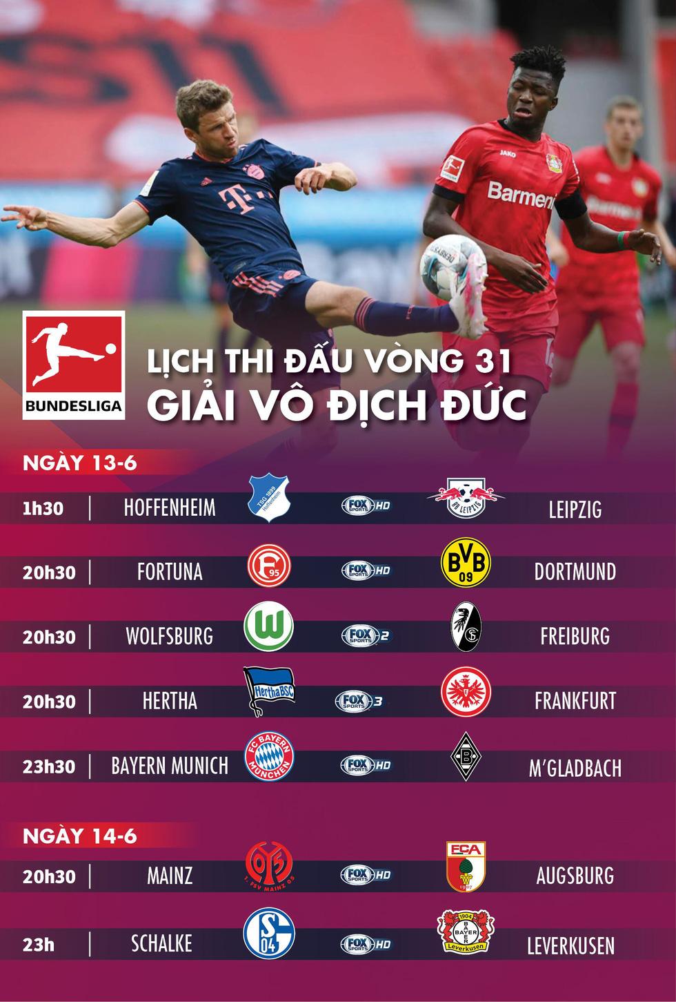 Lịch trực tiếp vòng 31 Bundesliga cuối tuần này - Ảnh 1.