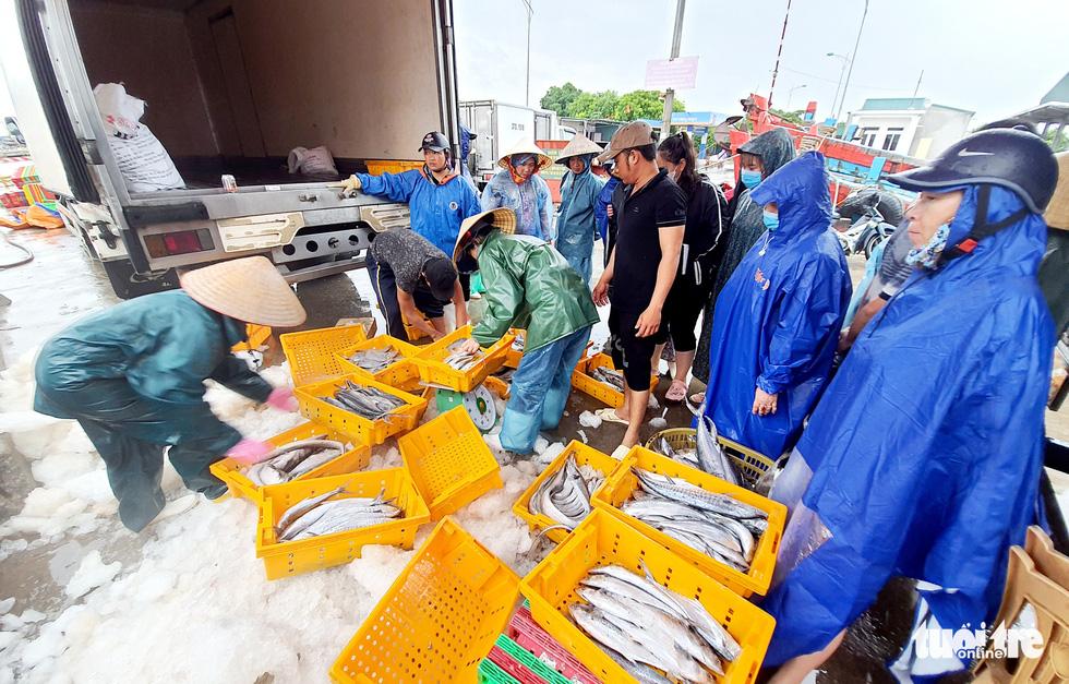 Ngư dân hối hả đưa hải sản vào bờ tránh bão số 2 - Ảnh 1.