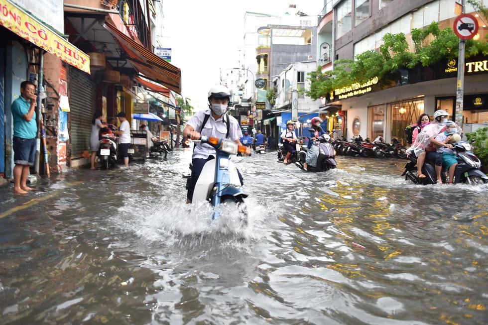 Cây bật gốc đổ ngang đường Nguyễn Tri Phương làm 1 người bị thương, ngập và kẹt xe nhiều nơi - Ảnh 9.