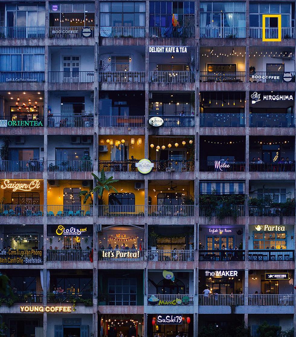 Ảnh chung cư Sài Gòn đầy ắp quán cà phê lên National Geographic UK - Ảnh 1.