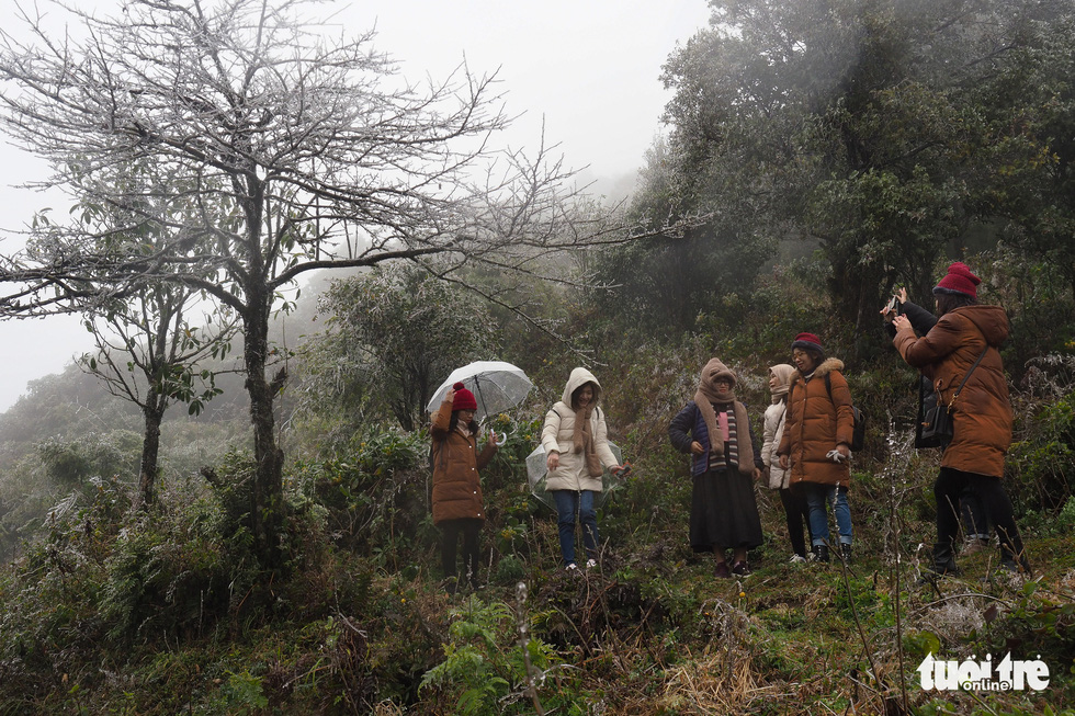 Tourists gather to the top of O Quy Ho Pass to take frozen photos - Photo 2.