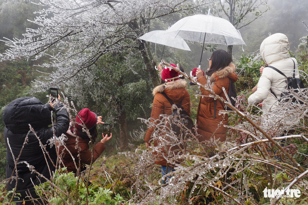 Tourists gather to the top of O Quy Ho Pass to take frozen photos - Photo 1.