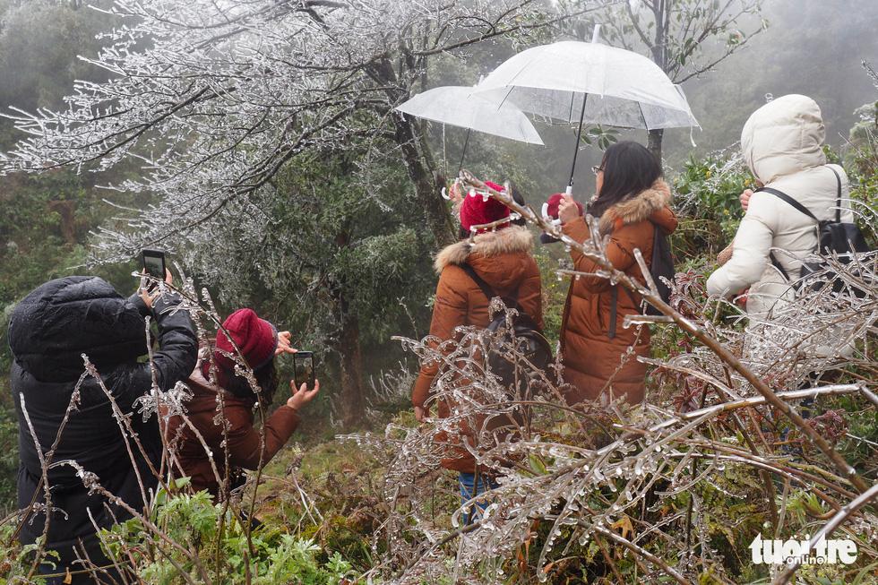 Du khách nườm nượp lên đỉnh đèo Ô Quy Hồ chụp ảnh băng giá