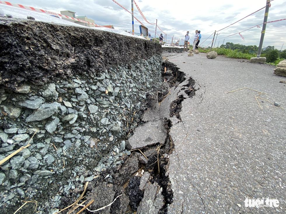 Cận cảnh đê hữu sông Đáy nứt toác, sụt lún đang có dấu hiệu lan rộng - Ảnh 5.