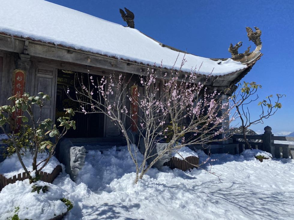 Du khách nườm nượp lên Fansipan chụp ảnh tuyết ngày cuối năm - Ảnh 3.