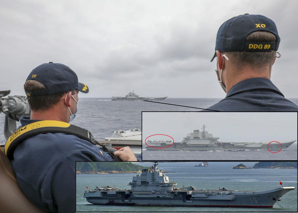 Tàu sân bay Trung Quốc bị tàu chiến Mỹ bám đuổi, chọc thủng đội hình? - Ảnh 1.