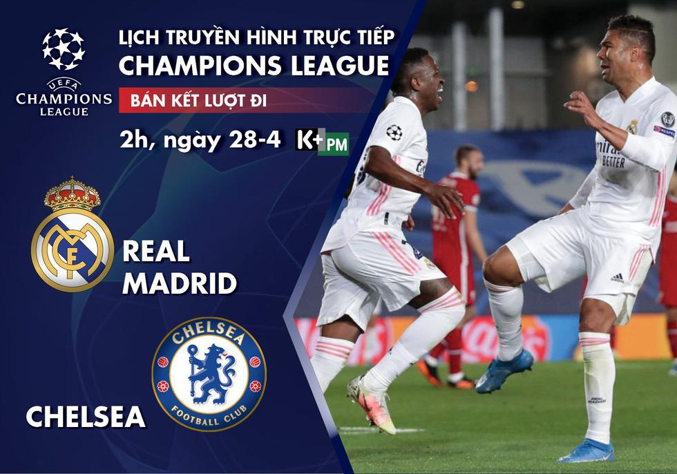 Lịch trực tiếp bán kết lượt đi Champions League: Real Madrid - Chelsea - Ảnh 1.
