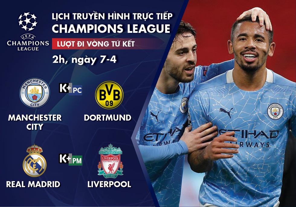 Lịch trực tiếp lượt đi tứ kết Champions League: Man City - Dortmund, Real - Liverpool - Ảnh 1.