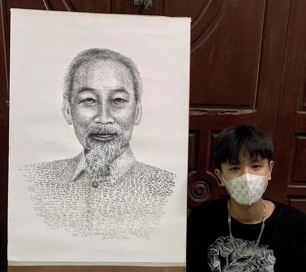 10X Bắc Ninh vẽ chân dung Bác Hồ bằng tên 63 tỉnh thành - Ảnh 1.