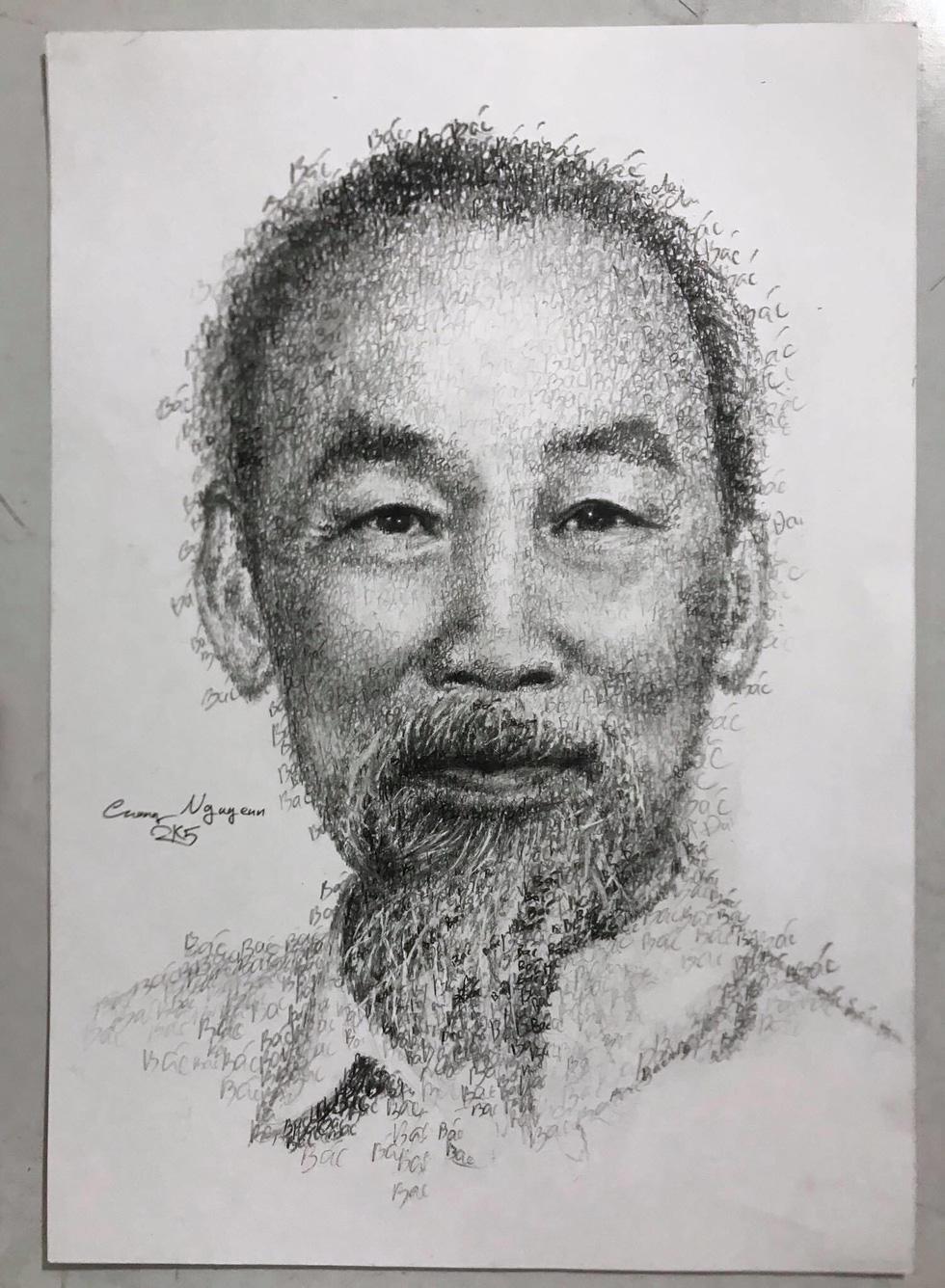 10X Bắc Ninh vẽ chân dung Bác Hồ bằng tên 63 tỉnh thành - Ảnh 3.
