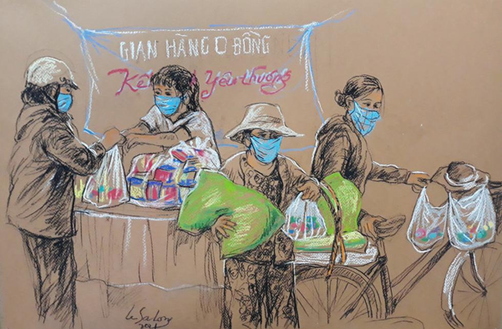 Sài Gòn bao dung, nghĩa hiệp những ngày giãn cách lên tranh vẽ - Ảnh 5.