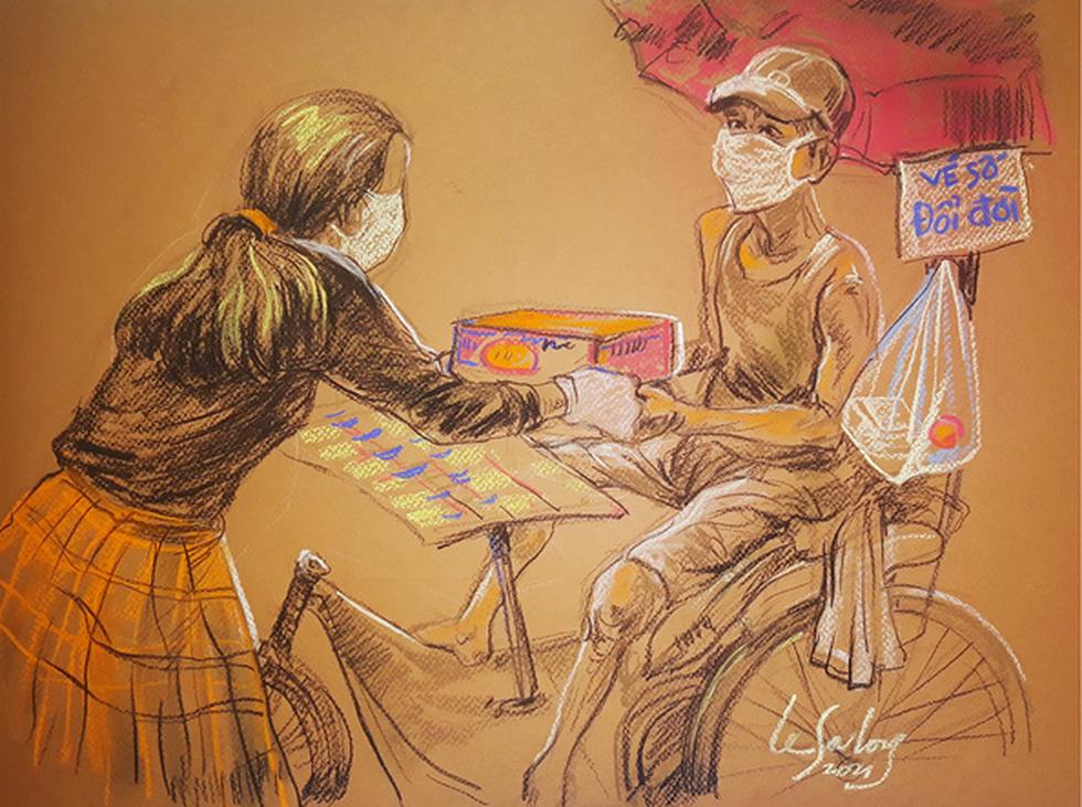Sài Gòn bao dung, nghĩa hiệp những ngày giãn cách lên tranh vẽ - Ảnh 9.