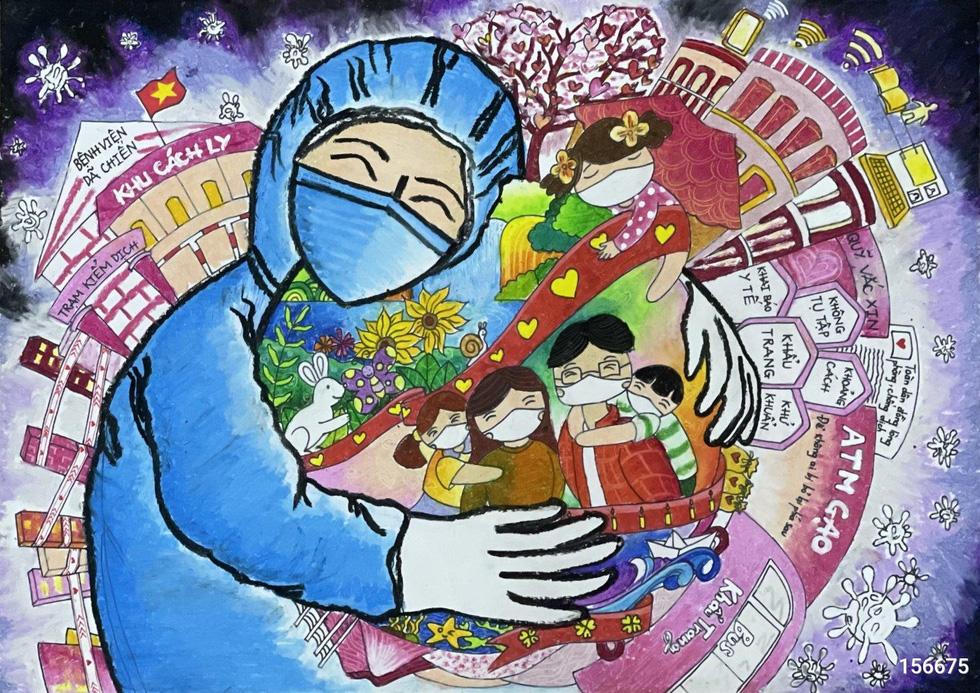 Tiếp bình oxy cho bệnh nhân, bếp yêu thương vào tranh của thiếu nhi - Ảnh 4.