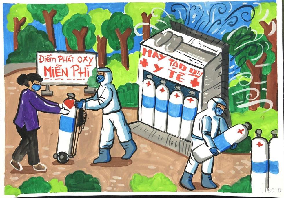 Tiếp bình oxy cho bệnh nhân, bếp yêu thương vào tranh của thiếu nhi - Ảnh 6.