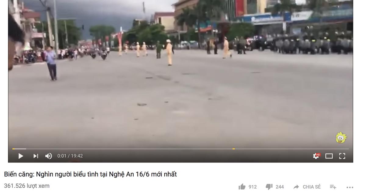 Nghìn người biểu tình ở Nghệ An 16-6 là clip bịa đặt