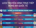 Lịch truyền hình vòng 15 Premier League