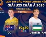 Lịch trực tiếp trận tranh hạng 3 Giải U23 châu Á 2020: Úc gặp Uzbekistan