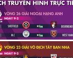 Lịch trực tiếp bóng đá châu Âu ngày 9-2