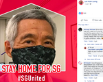 Thủ tướng Singapore đăng ảnh đeo khẩu trang, kêu gọi dân ở nhà