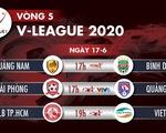 Lịch trực tiếp vòng 5 V-League ngày 17-6:
