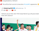 FIFA chúc mừng futsal Việt Nam lần thứ hai góp mặt ở World Cup