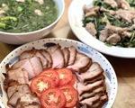 Thịt heo xá xíu - rau càng cua xào bò - canh cải nấu mọc
