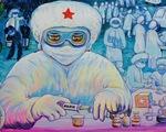 Tiếp bình oxy cho bệnh nhân, bếp yêu thương vào tranh của thiếu nhi