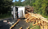 Video: Xe tải chở gỗ lật úp, 2 vợ chồng tử vong trên đèo Vi Ô Lắc