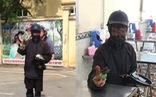 Công an truy tìm 'ninja đen' cầm đầu gà, xúc xích đi xin tiền ở Hà Nội