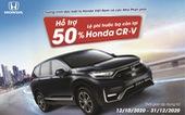 Hỗ trợ 50% lệ phí trước bạ còn lại cho khách hàng mua Honda CR-V